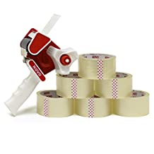 Deluxe Tape Gun Kit + 6 BONUS Rolls of Clear Packing Tape - Strong 2 Inch Sealing Tape for Moving Boxes - Office/School Packaging Supplies to Hand Package Mailing Carton - Case Pack of 6 Replacement