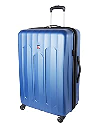Swiss Gear Chrome Large Checked Luggage - Hardside Expandable Spinner Luggage 28-Inch, Blue