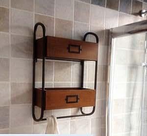 Bian de retro pared doble hierro forjado ba o toalla rack for Estanteria bano toallas