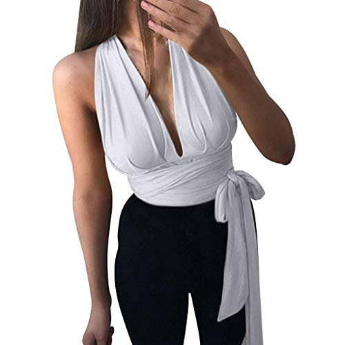 Xinantime Women Tank Top Sleeveless Halter V-Neck Short Solid Sexy Wrap Tied Waist Blouse White