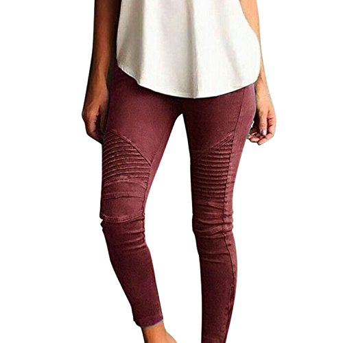 Skinny Low LAEMILIA Fit Stretch Slim Pleated Stretchy Jeggings Ankle Red Pencil Zipper Waist Moto Pants Comfy Womens R1Uq1xB