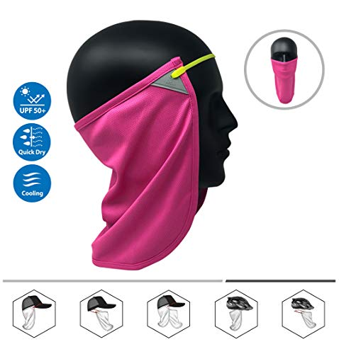(CoolNES Neck or Face Sun Mask   1 Product 2 Uses 1 Removable Universal Fit Headband with 1 Flap   Multifunctional Headwear 4 Season Performance   Cap   Hat   Bike Ski Helmet UPF 50 (CoolNES-Pink))