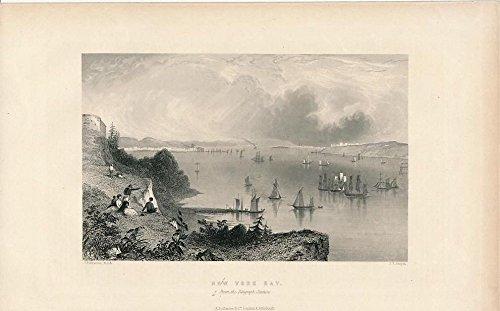 (Telegraph Station view New York Harbor ca. 1850 fine old vintage engraved print)