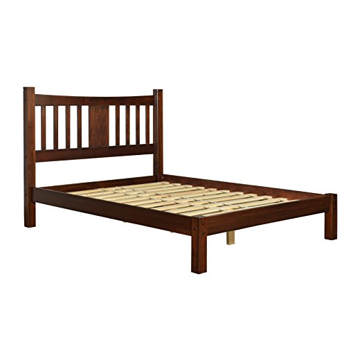 Modern Shaker Solid Wood Queen Slat Platform Bed - Includes Modhaus Living Pen (Cherry Finish)