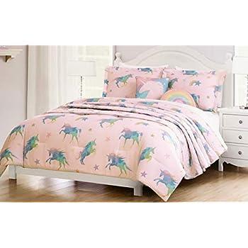 6cdbaaf6a337c Amazon.com  Lil Envogue Pink Rainbow Unicorn Bedding Set Includes ...