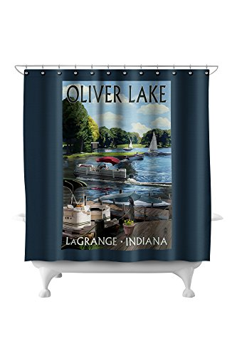 - LaGrange, Indiana - Oliver Lake - Pontoon Boats (71x74 Polyester Shower Curtain)
