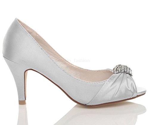 Argent Sandales Talon Haut Femmes Ouvert Mariage Chaussures Taille AjL4R5