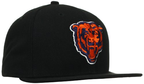 (NFL Chicago Bears Black and Team Color 59Fifty Fitted Cap, Black/Black, 7)