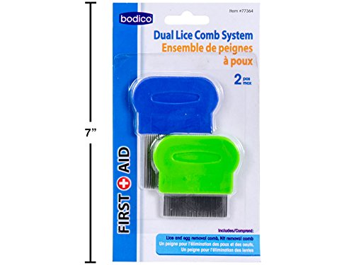 First Aid Bodico 2-pc Lice eggs Nit Comb Removal System, Stainless (Lice Treatment System)