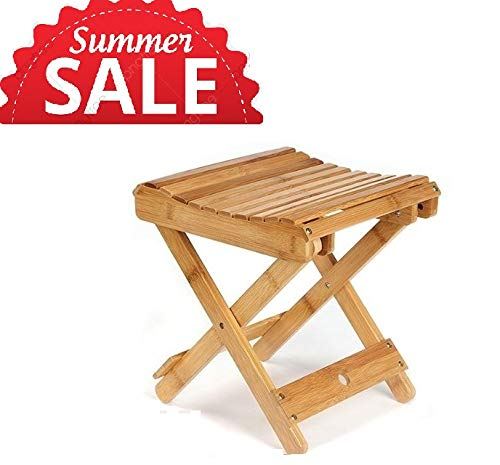 - FunKaza Bamboo Folding Stool for Shaving Shower Foot Rest - Fully Assembled Living Room Square Portable Household Stool Bench or Game Stool