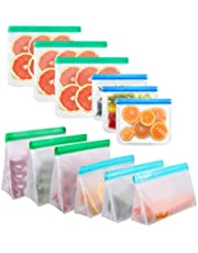 Reusable ZipLock Bags 12 Pack Ziptop Silicone Food Storage Bags Leak Proof Upgraded 6 Stand Up 6 Flat Vegetable Fruits Fresh During Travel for Food Organization BPA-Free