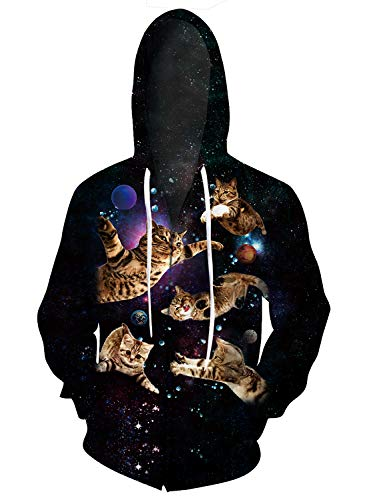 Uideazone Unisex 3D Printed Flying Cat Zipper Hoodie Jacket Coat Casual Grachic Hoody Sweatshirt with Pockets