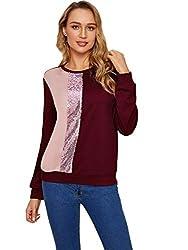 Burgundy & Pink Round Neck Sequin Long Sleeve Sweatshirt