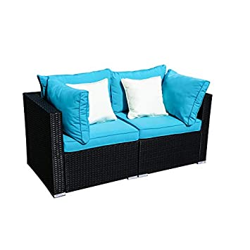 Wonlink 3 PCS Patio PE Rattan Wicker Sofa Sectional Furniture Set with Blue Cushion, 2 Pillows and Tea Table