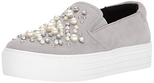 Ashby Cole Slip Faux York Pearl Kenneth New Platform Grey Sneaker Jewels Womens F4xIw4pqd