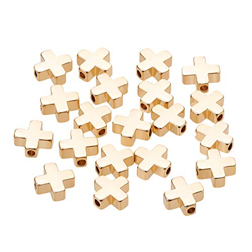 (BENECREAT 20 PCS 18K Gold Plated Beads Metal Beads for DIY Jewelry Making and Other Craft Work - 8x8x3mm, Cross Shape)