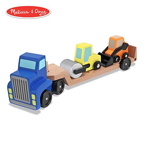 Melissa & Doug Low Loader Wooden Vehicle Play Set - 1 Truck With 2 Chunky Construction ()