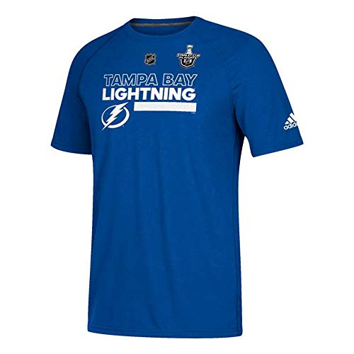 (adidas Tampa Bay Lightning NHL Men's Blue 2018 Stanley Cup Locker Room Ice Ultimate Tee Climalite Perf. T-Shirt (Large))