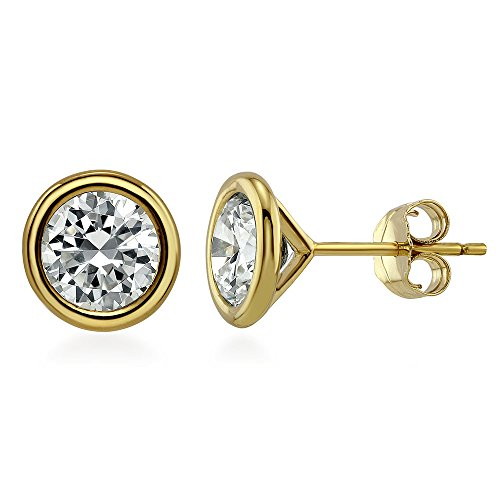BERRICLE Yellow Gold Flashed Sterling Silver Round Cubic Zirconia CZ Solitaire Anniversary Wedding Stud Earrings 5mm 0.92 CTW