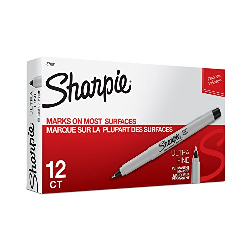 Sharpie 37001 Permanent Markers, Ultra Fine Point, Black, 12 Count