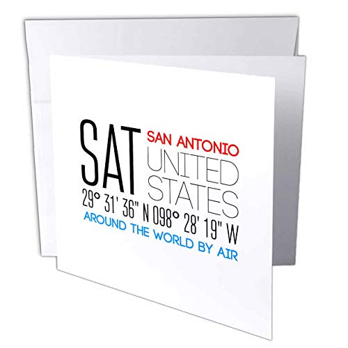 3dRose Alexis Design - Around The World by Air - Charming Text SAT, San Antonio, United States, Location Coordinates - 12 Greeting Cards with envelopes (gc_311124_2)