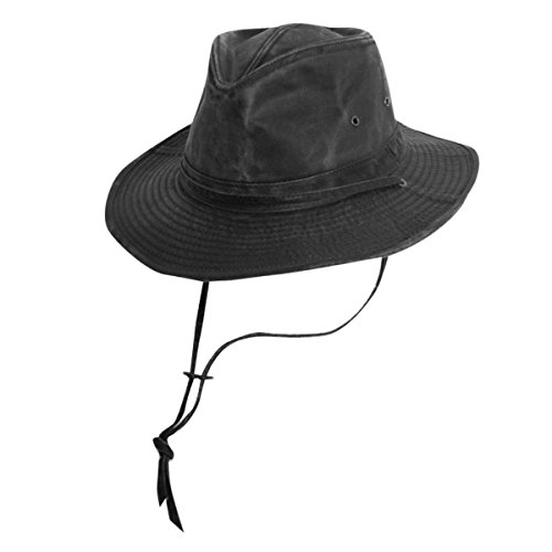 Cotton Chin Cord - Dorfman-Pacific Weathered Cotton Outback Hat With Chin Cord,Black,Medium