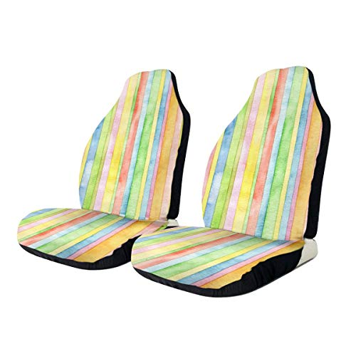 Car Seat Covers Pastel Lines Elastic Saddle Blanket With Seat Universal Car Seat Accessories,2 PCS