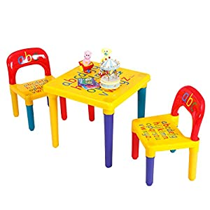Costzon Kids Table and 2 Chair Set, Alphabet Design, Specially-Designed Kiddie-Sized Furniture, Strong Bearing Capacity, Lightweight, Learn The Letters While Playing, Gift for Toddler Boys and Girls