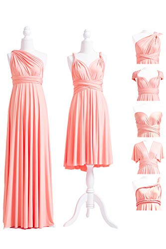 72STYLES Peach Coral Infinity Dress with Bandeau, Convertible Dress, Bridesmaid Dress, Long,Short, Plus Size, Multi-Way Dress, Twist Wrap Dress