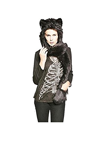 Regent London Toy's Animal Hood 3 in 1 Faux Fur Hat Mittens Ears and Paws (Halloween Costume Shop London)