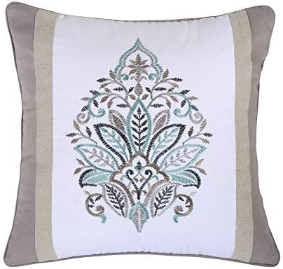 Levtex Home Rome Pieced Embroidered Pillow, Medalion, Invisible Zipper, White