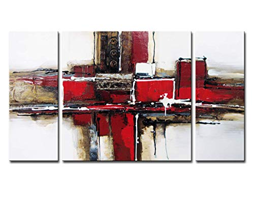 (Noah Art-3 Panel Abstract Wall Art, Red and Black 100% Hand Painted Modern Abstract Oil Paintings on Canvas, Large Abstract Art for Living Room Wall Decor, 24 Inches Height x)