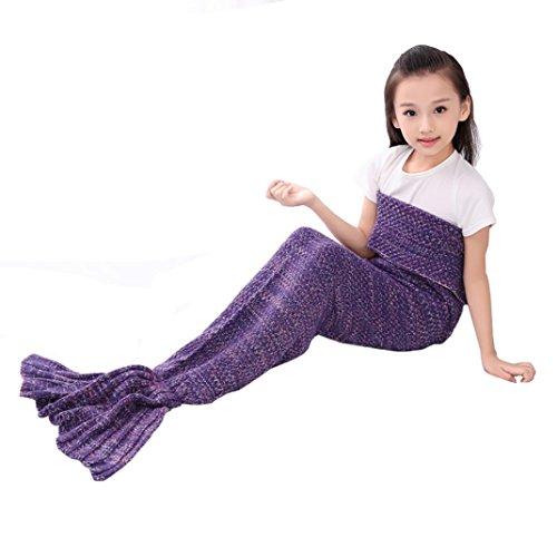Becoler Mermaid's Tail Kids Blankets,Children's lovely Super Soft All Seasons Bed Blankets Sofa Blankets Sleeping Bags (purple)