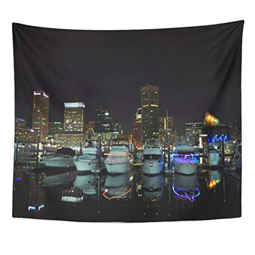 Semtomn Tapestry Artwork Wall Hanging Maryland Baltimore Skyline Urban Night Lights City 50x60 Inches Tapestries Mattress Tablecloth Curtain Home Decor Print
