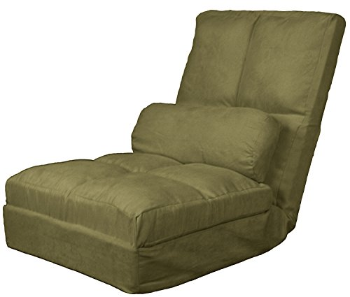 Cosmo Click Clack Convertible Futon Pillow-Top Flip Chair Child-size Sleeper Bed, Microfiber Suede Olive Green by Epic Furnishings