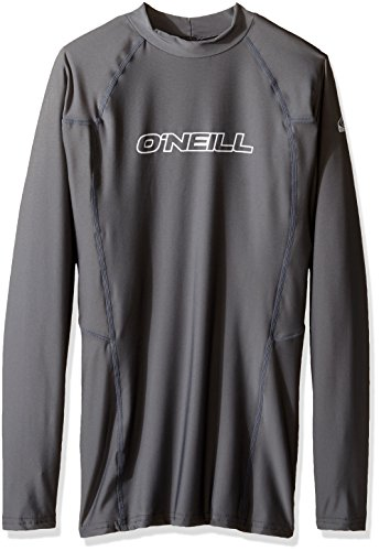 O'Neill Wetsuits UV Sun Protection Mens Basic Skins Long Sleeve Crew Sun Shirt Rash Guard, Smoke, X-Large