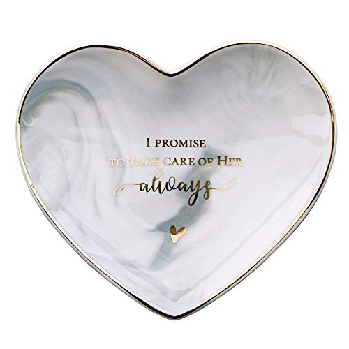 VILIGHT Mom of Bride Wedding Gifts - Gifts for Mother in Law - Marble Ceramic Heart Jewelry Tray Large Size 5.5 Inches