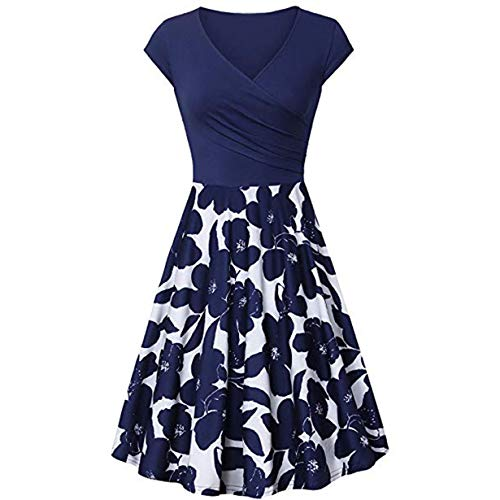 Respctful✿Women's Cross V Neck Short Sleeve Unique Wrap Casual Flared A-Line Midi Dress with Pockets Dark Blue]()