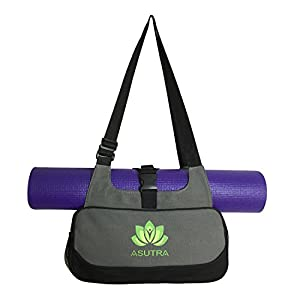 ASUTRA Compact Yoga Mat Bag with Organic Yoga Mat Cleaner - Dark Gray