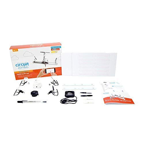 Circuit Scribe Drone Builder Kit for Kids | Build Your Own Drone with Camera | With Conductive Ink Pen, Motors, Propellers, Free iOS/Android Controller App, Battery-Operated Drone Hub