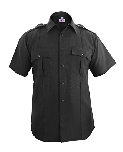 First Class 100% Polyester Short Sleeve Zippered Uniform Shirt Large Black