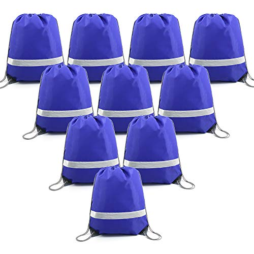 BeeGreen Blue Drawstring Backpack Bags Reflective Bulk Pack, Promotional Sport Gym Sack Cinch Bags (10 Royal Blue) -