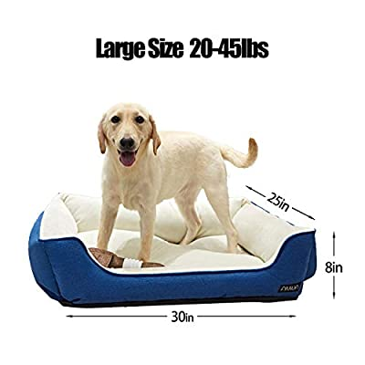ANWA Dog Bed Machine Washable Rectangle Bed with Cozy Plush Large Breeds