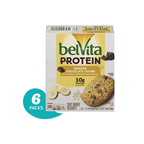 belVita Protein Banana Chocolate Chunk Soft Baked Biscuits, 6Count ()