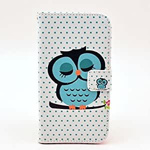CeeMart Sleeping Owl Pattern PU Leather with Soft Case and Card Slot for Samsung Galaxy S5 I9600