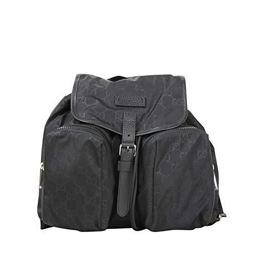 Gucci Two Front Pockets Unisex Black GG Nylon Medium Backpack 510343 1000