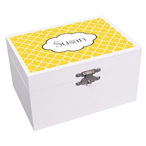 ed Tiles Yellow Gold Ballerina Musical Jewelry Box ()