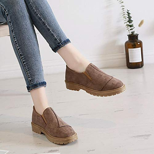 Casual FALAIDUO Trim Shoes Leather Retro Martin Ankle Toe Fashion on Khaki Slip Boots Women Round Shoes Low Autumn vgqprz7Wv