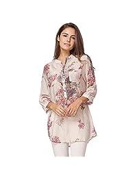 Romacci Women Floral Printed Blouse Loose Casual Long Top Shirt
