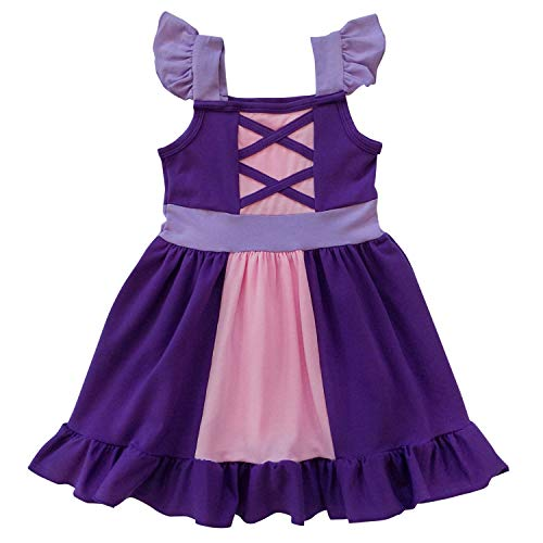 So Sydney Toddler Girl 1-2 Pc Soft Comfy Cotton Stretch Minnie or Princess Dress Costume Outfit (XS (2T), Rapunzel Purple Princess) -